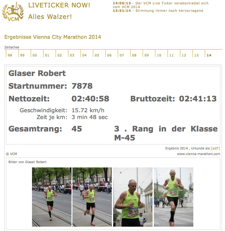 Vienna City Marathon 2014, Robert Glaser